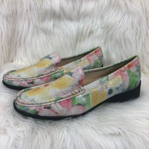 Ara mokassins floral leather shoes. Size 6